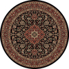 Concord Global Dynasty 94-in x 94-in Round Black Floral Area Rug