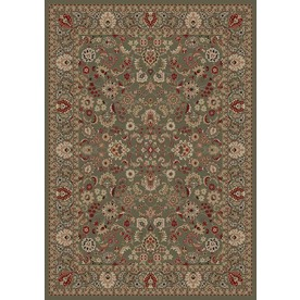Concord Global Dynasty Rectangular Green Floral Woven Area Rug (Common: 7-ft x 10-ft; Actual: 6.58-ft x 9.5-ft)