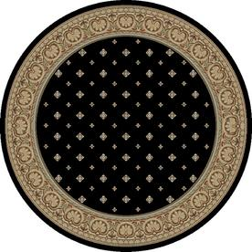 Concord Global Florence Black Round Indoor Woven Oriental Area Rug (Common: 5 x 5; Actual: 63-in W x 63-in L x 5.25-ft Dia)
