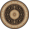 Concord Global Cyrus 94-in x 94-in Round Black Floral Area Rug