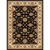 Concord Global Cyrus 5-ft 3-in x 7-ft 3-in Rectangular Black Floral Area Rug