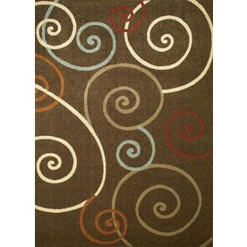Concord Global Hampton Brown Rectangular Indoor Woven Area Rug (Common: 7 x 10; Actual: 79-in W x 114-in L x 6.58-ft Dia)