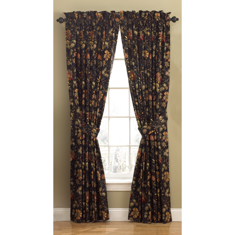 Shop Waverly Felicite 84 In L Floral Noir Back Tab Curtain Panel At