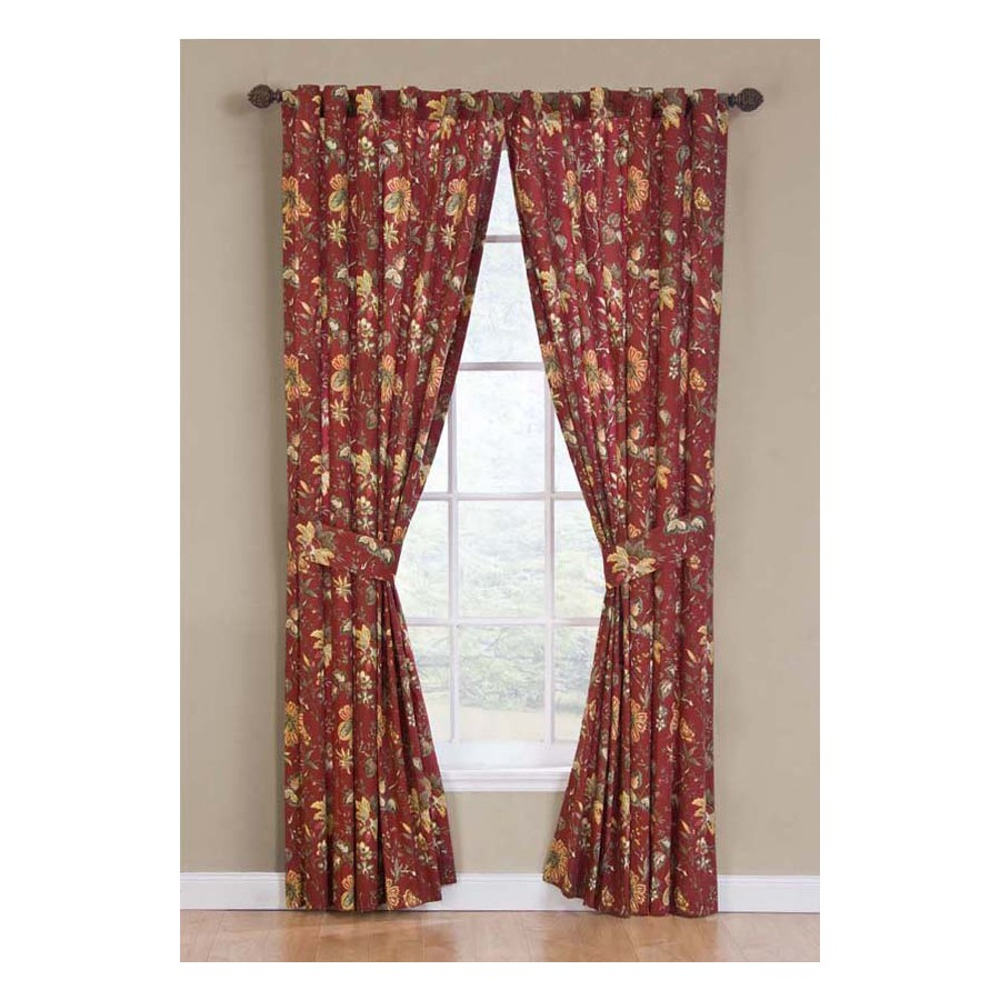 Shop waverly felicite 84 in l floral crimson back tab curtain panel at