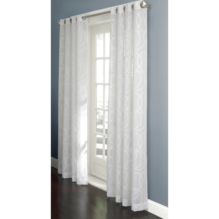 anaheim sheer curtain 84 in l geometric white grommet sheer curtain