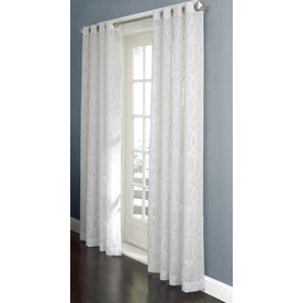 allen + roth Anaheim Sheer Curtain 84-in L Geometric White Grommet Sheer Curtain 11118052X084WH
