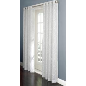 Sheer 84 in l geometric white grommet window sheer curtain at lowes