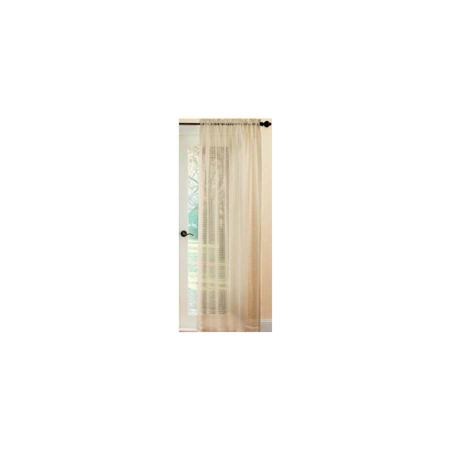 Shop Waverly Waverly Home Classics 84 In L Checked Taupe Rod Pocket Window Sheer Curtain At