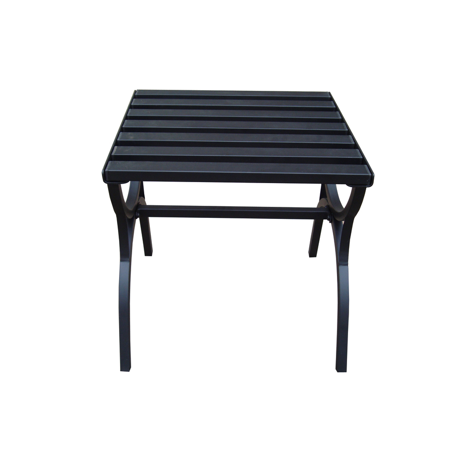 shop garden treasures 18 in x 18 in black steel square patio end table
