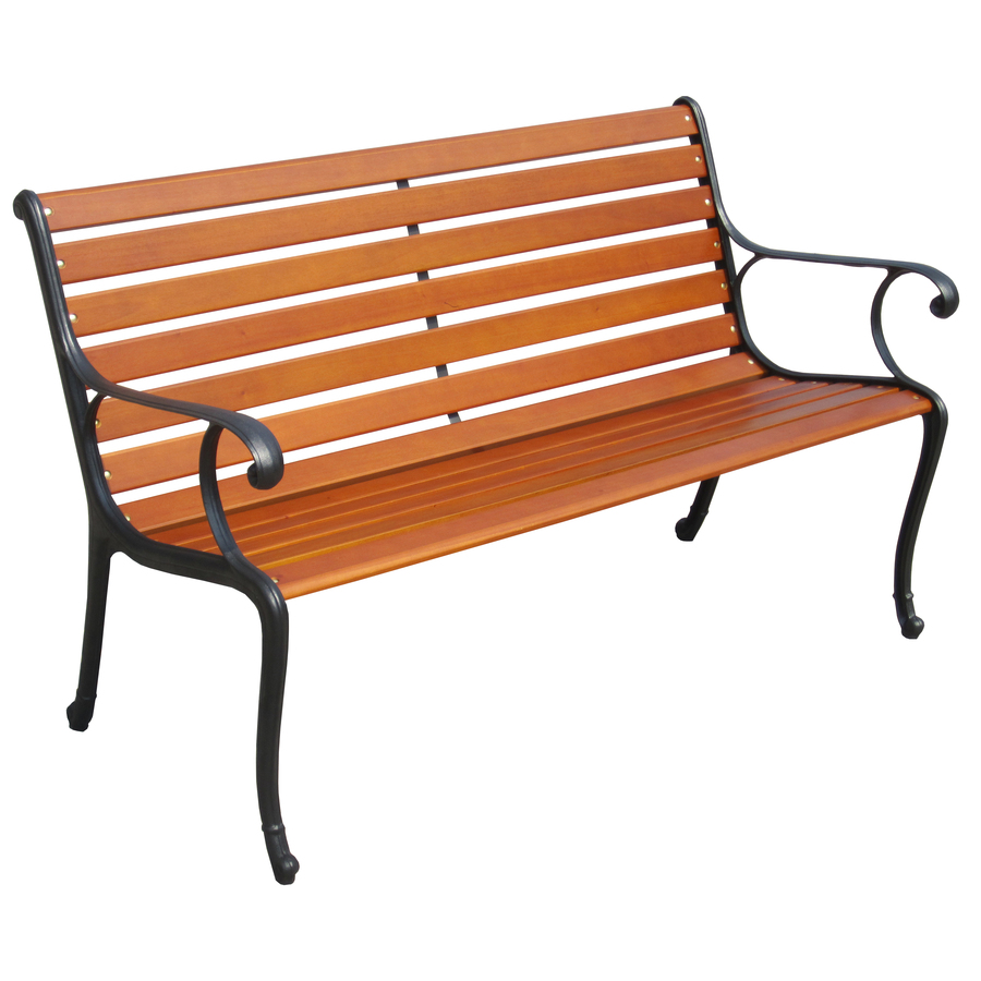 Shop garden treasures 50 in l painted wood patio bench at Lowes garden bench