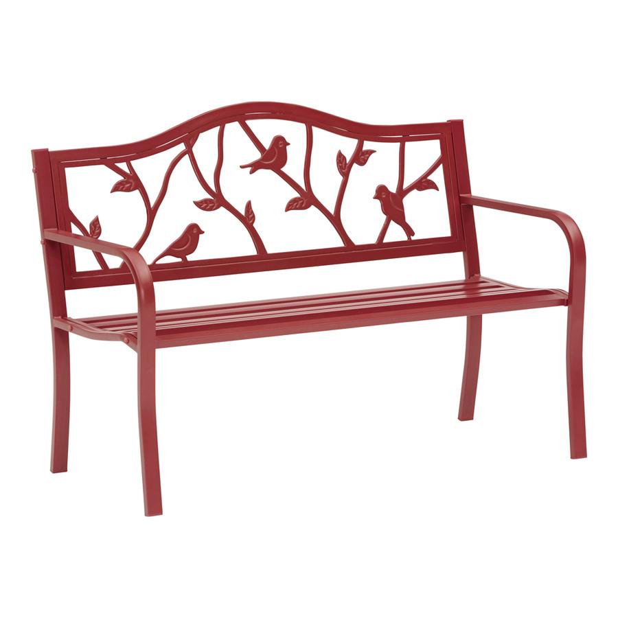 Shop Garden Treasures 50 4 In L Steel Iron Patio Bench At