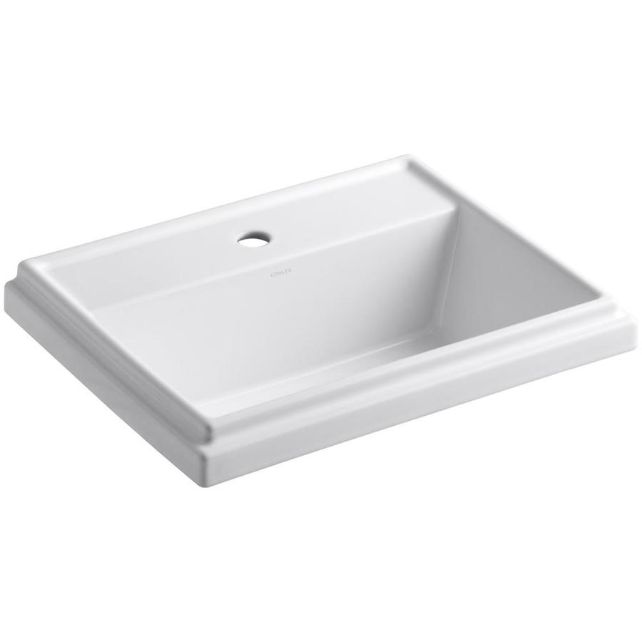 Bathroom Sink Drop In : Shop KOHLER Tresham White Drop-In Rectangular Bathroom Sink with ...