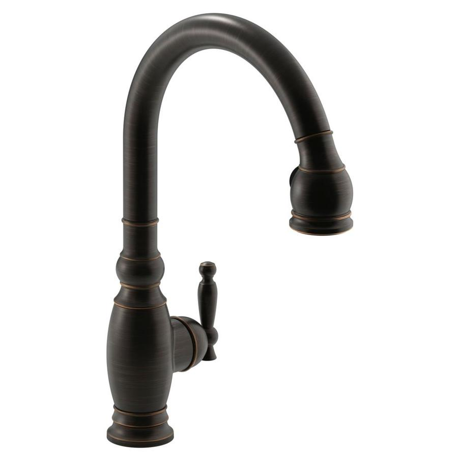 shop kohler vinnata oil rubbed bronze 1 handle pull down best oil rubbed bronze kitchen faucets