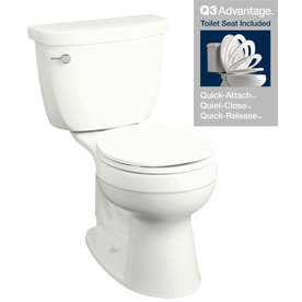 KOHLER Cimarron White 1.28-GPF (4.85-LPF) 12-in Rough-in WaterSense Round 2-Piece Comfort Height Toilet