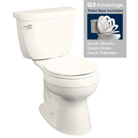 KOHLER Cimarron Biscuit 1.28-GPF (4.85-LPF) 12-in Rough-in WaterSense Round 2-Piece Comfort Height Toilet