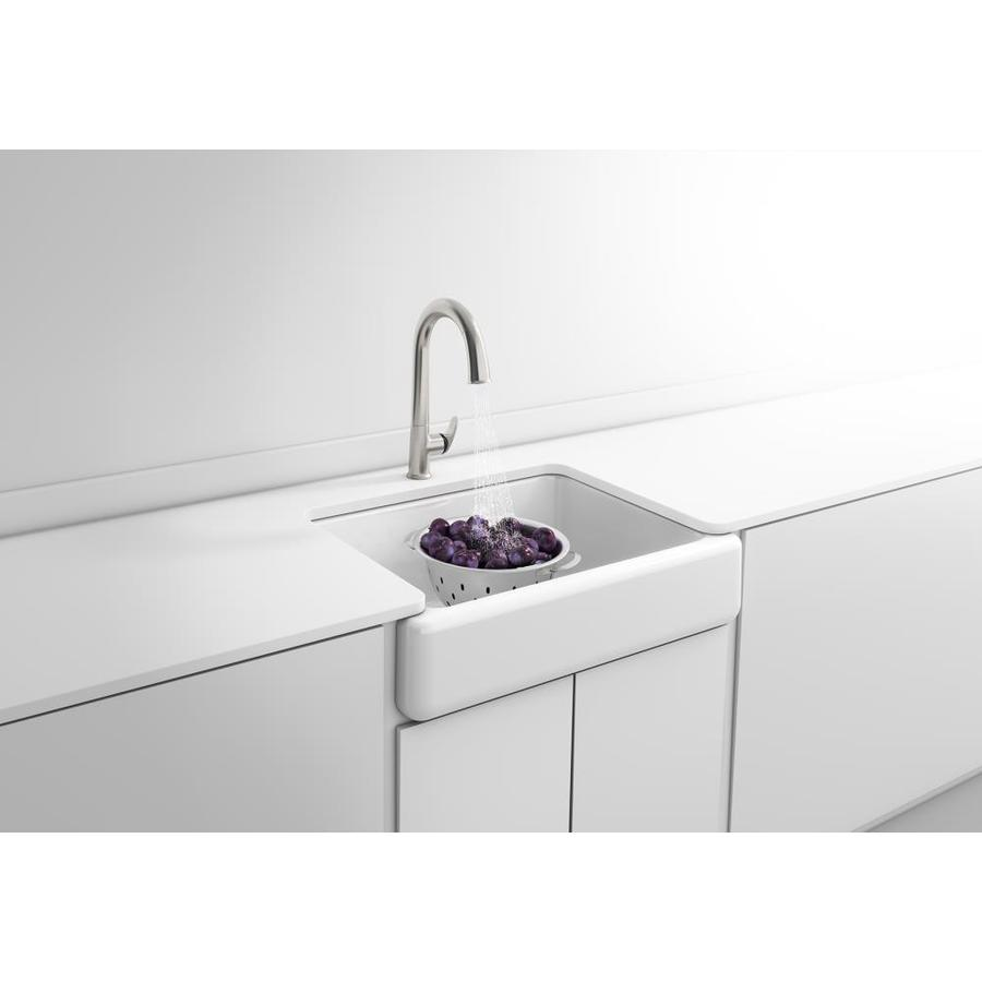 Shop kohler whitehaven white single basin apron front farmhouse kitchen sink at - Kitchen sinks apron front ...