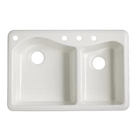 Kohler Lawnfield Sink : KOHLER Lawnfield 22-in x 33-in White Double-Basin Cast Iron Drop-In 4 ...