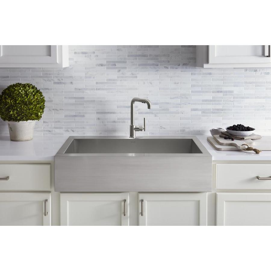 Kohler Vault Sink : Shop KOHLER Vault 24.3125-in x 35.75-in Stainless Steel Single-Basin ...