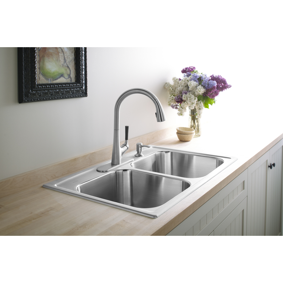 Kohler Stainless Sink : Shop KOHLER Toccata 22-in x 33-in Stainless Steel Double-Basin Drop-in ...