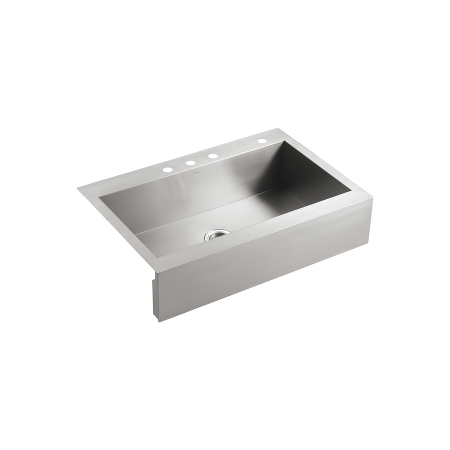 Kohler Stainless Sink : Shop KOHLER Vault Stainless Steel Single-Basin Apron Front/Farmhouse ...