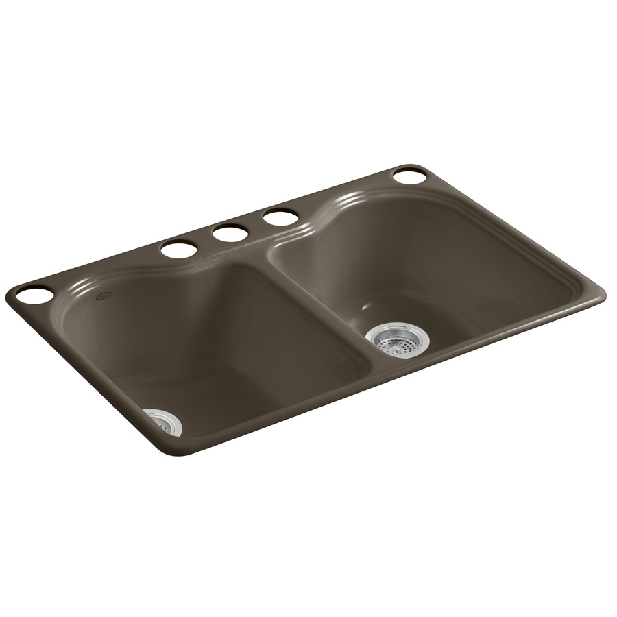 Shop KOHLER Hartland Suede Double-Basin Undermount Kitchen Sink at ...