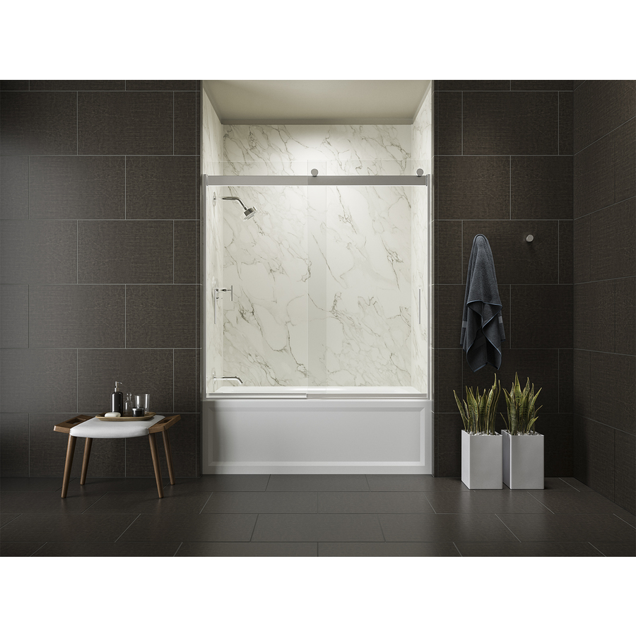 Shop KOHLER Levity 59.625-in W x 58-in H Frameless Bathtub ...