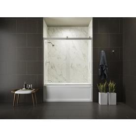 KOHLER Levity 59.625-in W x 62-in H Bright Silver Frameless Bathtub Door