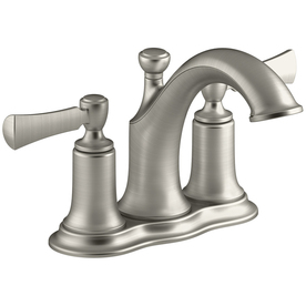 KOHLER Elliston Vibrant Brushed Nickel 2-Handle 4-in Centerset Bathroom Faucet (Drain Included)
