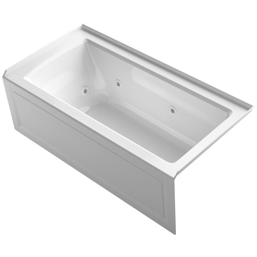 Shop KOHLER Archer White Acrylic Rectangular Whirlpool Tub Common 30 In X 6