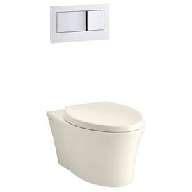 KOHLER Veil Biscuit 1.6; 0.8-GPF (6.06; 3.03-LPF) Wall-Hung WaterSense Elongated Dual-Flush Wall-Hung Custom Height Rear Outlet Toilet