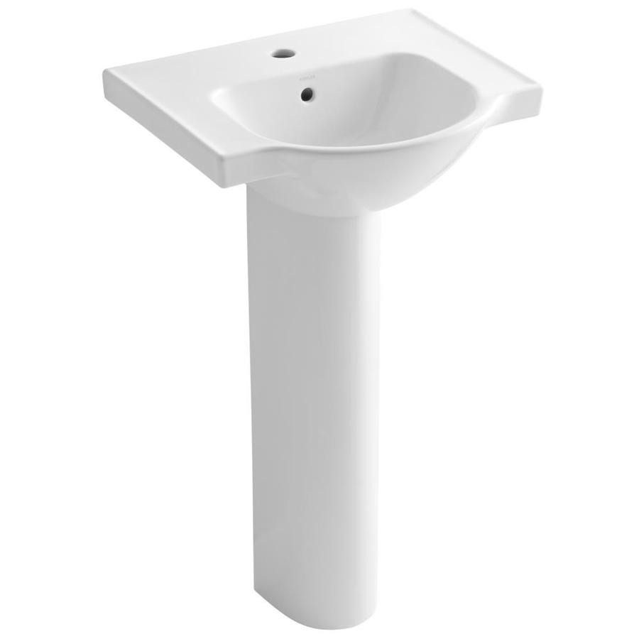Kohler Pedestal : Shop KOHLER Veer 35.5-in H White Vitreous China Complete Pedestal Sink ...