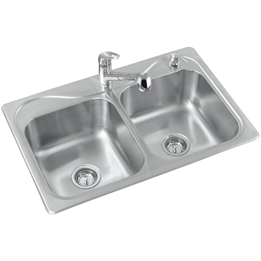 Shop Sterling Southhaven 20 Gauge Double Basin Drop In Stainless Steel Kitchen Sink With Faucet