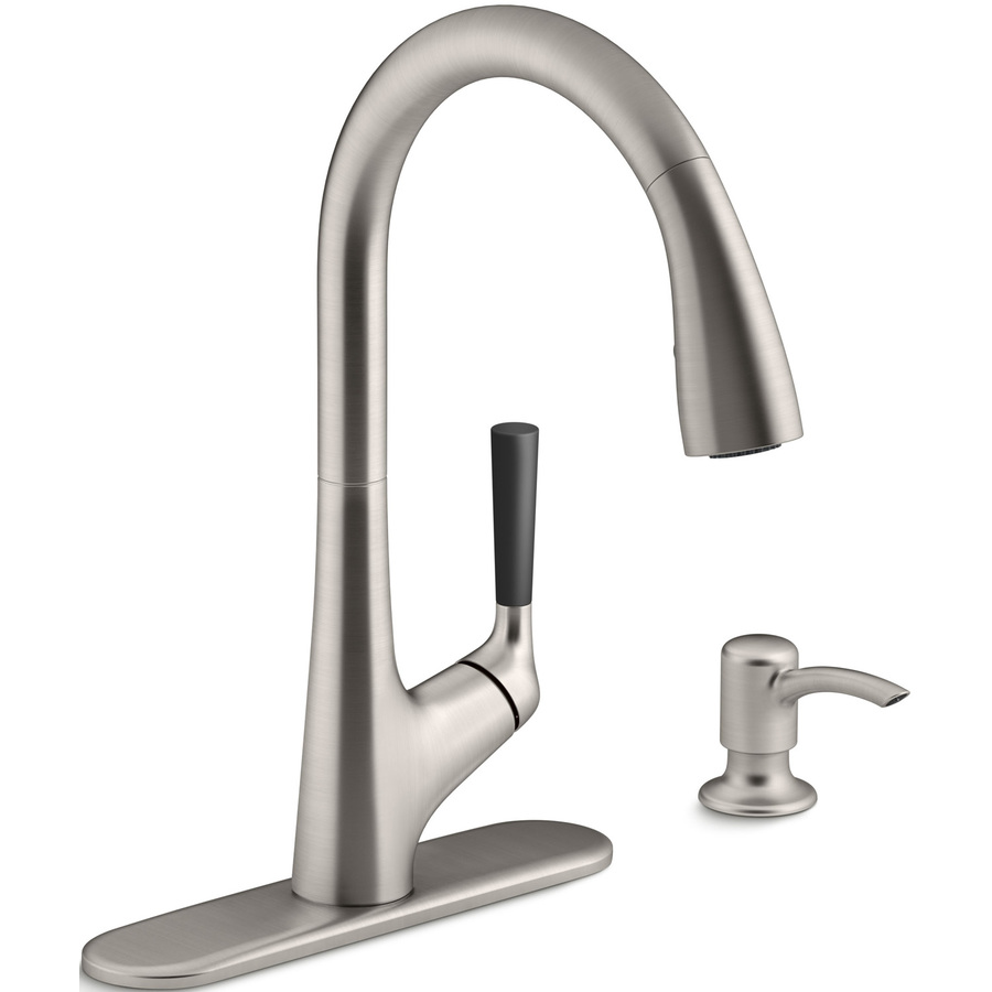 Shop KOHLER Malleco Vibrant Stainless 1-Handle Pull-Down Kitchen ...