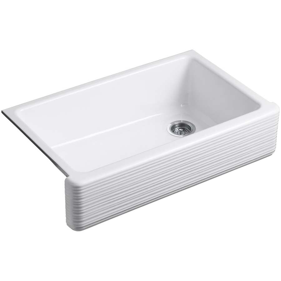 ... White Single-Basin Apron Front/Farmhouse Kitchen Sink at Lowes.com