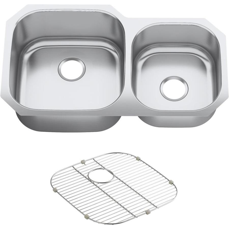Kohler Stainless Sink : Shop KOHLER Undertone 20.125-in x 35.125-in Stainless Steel Double ...