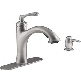 Kohler Elliston Sink : KOHLER Elliston Vibrant Stainless 1-Handle Pull-Out Sink/Counter Mount ...