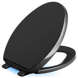 Shop KOHLER Reveal Black Plastic Elongated Slow Close Toilet Seat At