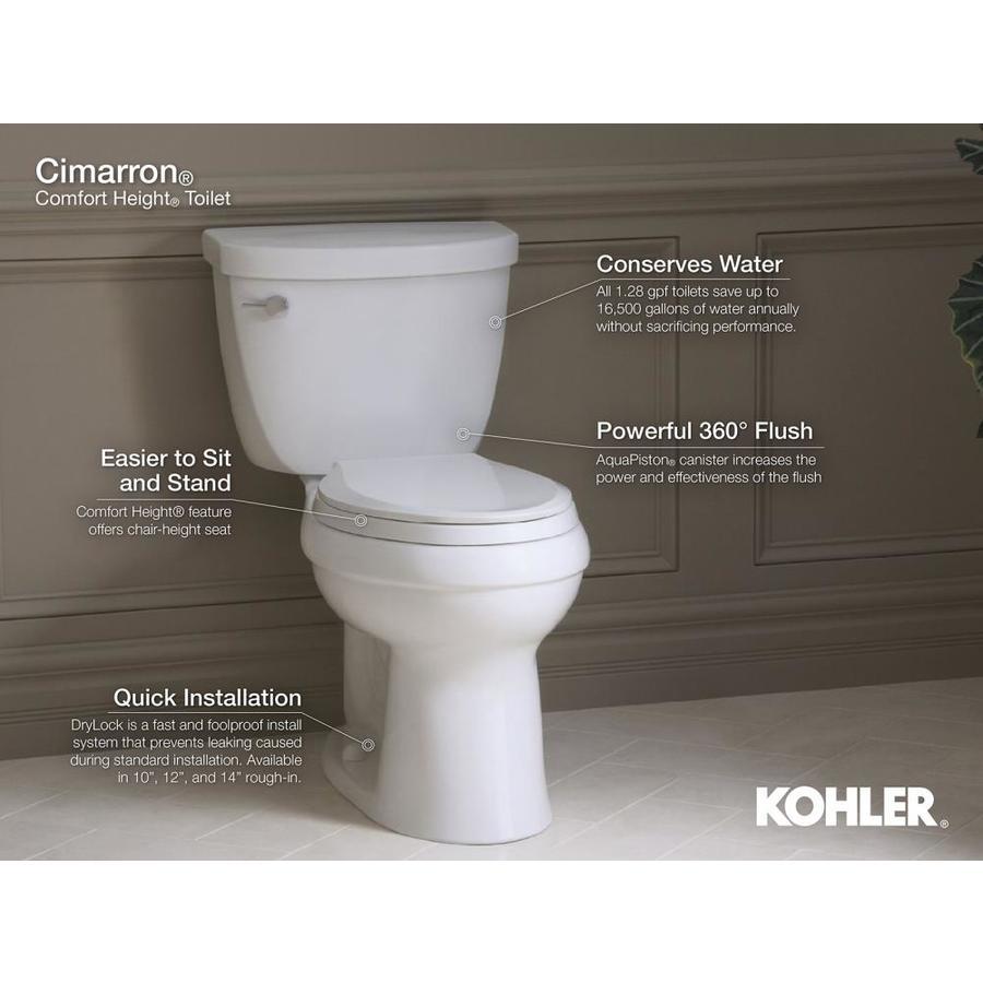 KOHLER 5309-0 Cimarron skirted trapway Comfort Height elongated toilet bowl White