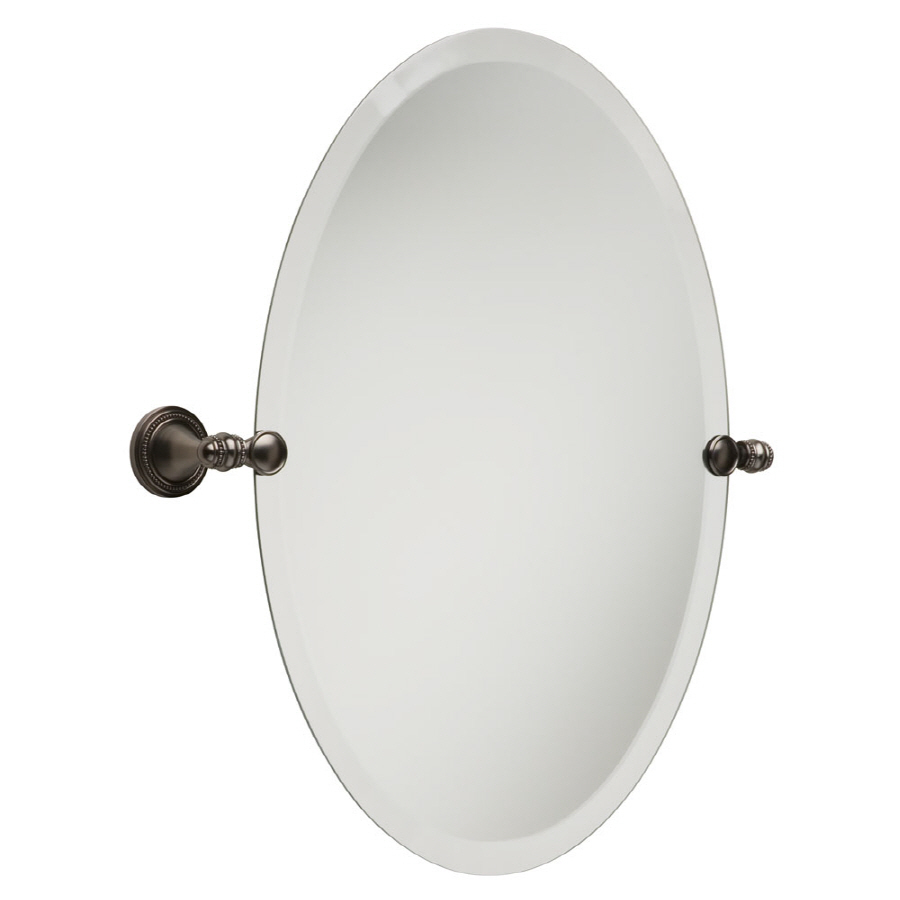 Shop Betsyfieldsdesign Beaded 26 In H X 19 In W Oval Tilting Frameless Bathroom Mirror With