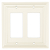 Brainerd 2-Gang White Decorator Rocker Wood Wall Plate