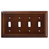Brainerd 4-Gang Espresso Standard Toggle Wood Wall Plate