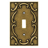 Brainerd 1-Gang Burnished Antique Brass Toggle Wall Plate