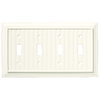 Brainerd 4-Gang White Standard Toggle Wood Wall Plate
