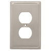 Brainerd 1-Gang Satin Nickel Decorator Duplex Receptacle Stainless Steel Wall Plate