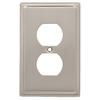 Brainerd 1-Gang Satin Nickel Decorator Duplex Receptacle Stainless Steel Wall Plate
