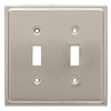 Brainerd 2-Gang Satin Nickel Standard Toggle Stainless Steel Wall Plate
