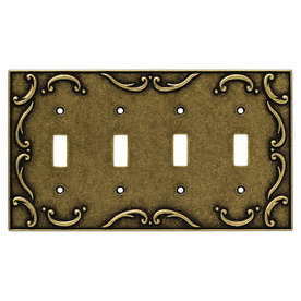 Brainerd 4-Gang Burnished Antique Brass Toggle Wall Plate