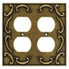 Brainerd 2-Gang Burnished Antique Brass Round Wall Plate