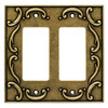 Brainerd 2-Gang Burnished Antique Brass Decorator Metal Wall Plate