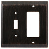 Brainerd 2-Gang Venetian Bronze Finish Decorator Rocker Metal Wall Plate